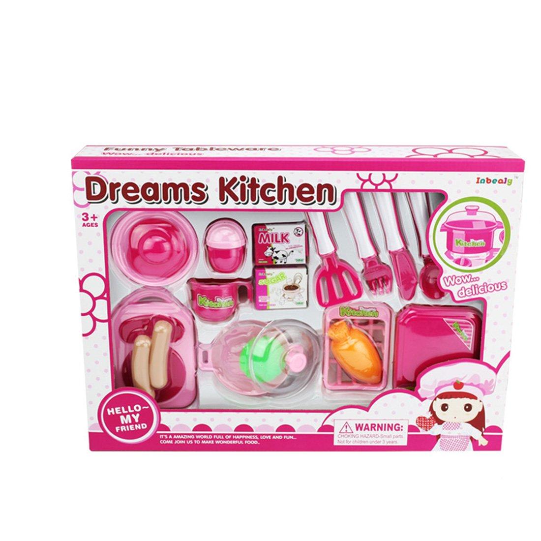 キッチンおもちゃセットpinchuanghui 18pcs子Cooking PlayキッチンToys Pretend Playベビーキッズホーム教育おもちゃ – ピンク   B075NZ39VL