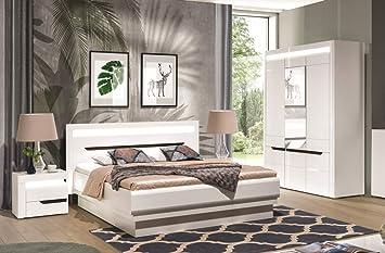 QMM Traum Moebel Schlafzimmer komplett weiß Hochglanz IRIS Set A ...