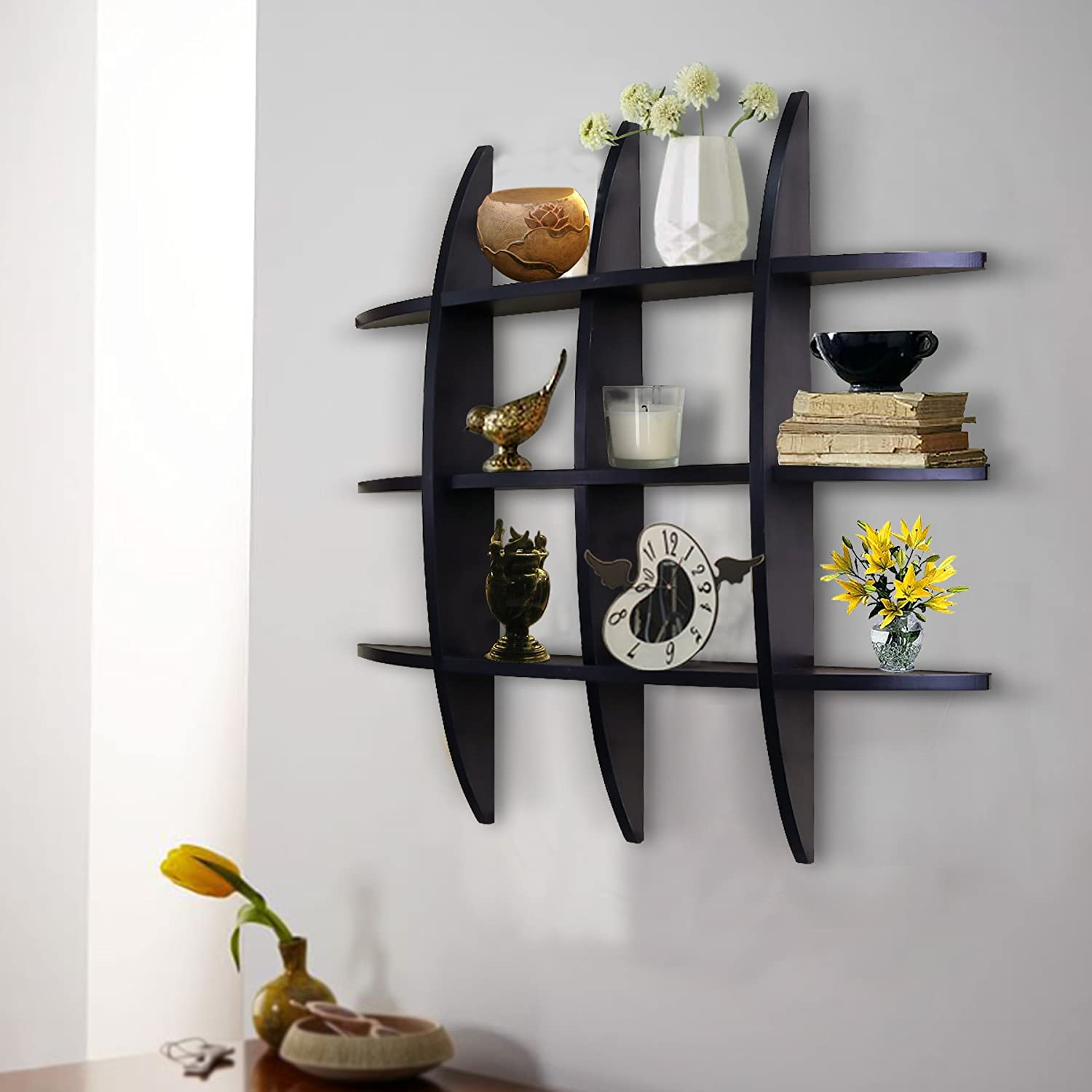 Floating shelves amazon shelving solution cross display wall shelf black amipublicfo Image collections