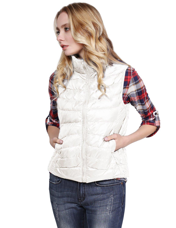 Made by Emma MBEレディース軽量90 % Goose Down PackableアウトドアPuffer Vest B01MCT05TF L|Fwov09 Ivory Fwov09 Ivory L
