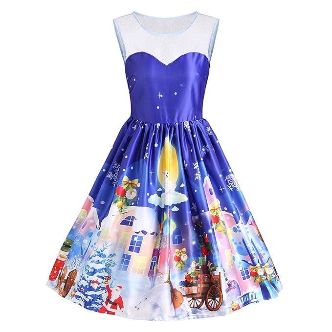 iBaste Vestidos Sin Manga Mujer Costura de Encaje Estampado Navidad Vestido Vintage Estilo Hepburn