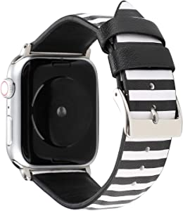 NewSilkRoad 44mm 42mm Classic Tartan Pattern Leather Band Strap with Stainless Metal Buckle Compatible With Apple Watch Series 4/3/2/1, Sport & Edition (A)