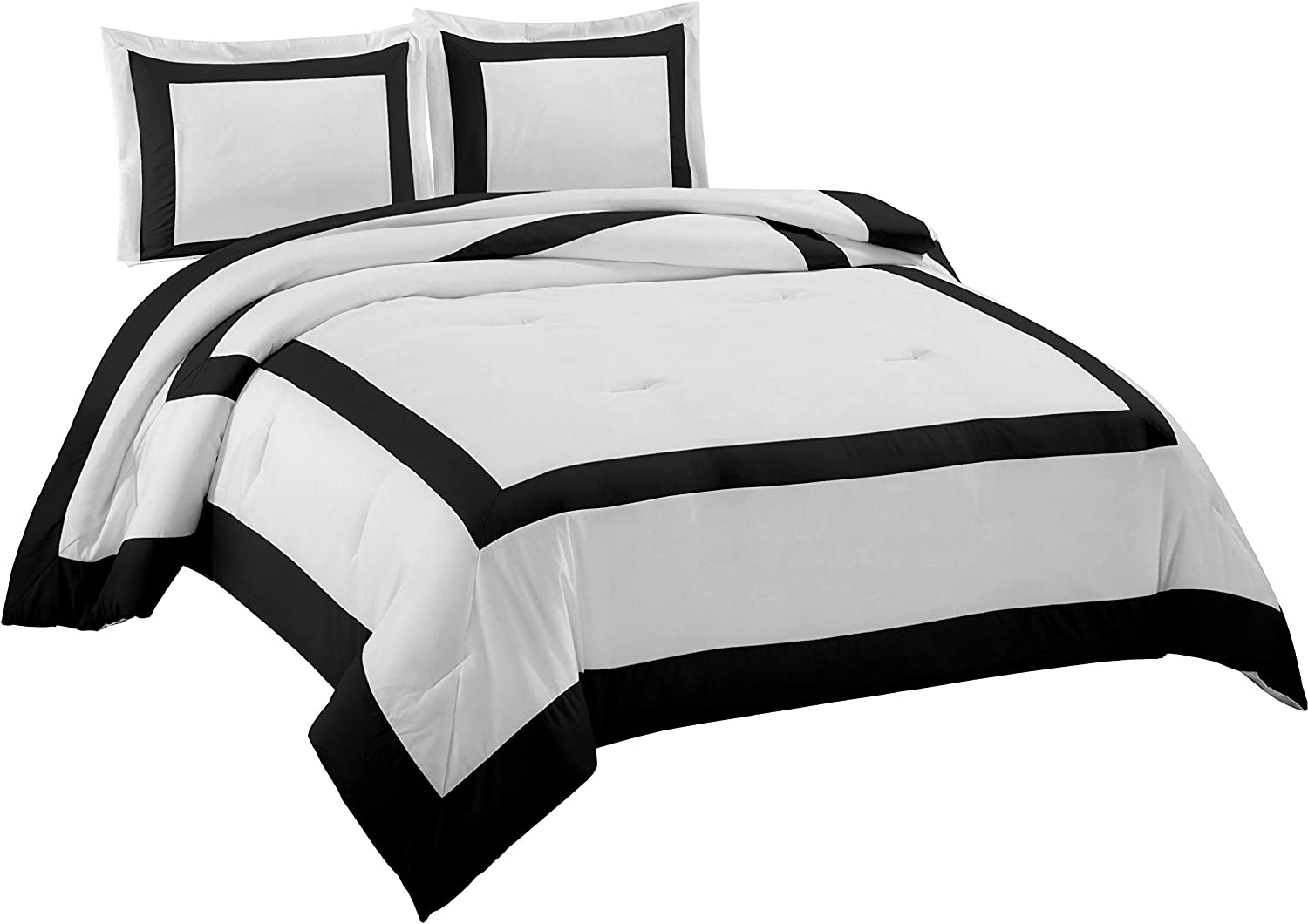 Chezmoi Collection 3-Piece Hotel style Square Framed Bedding Comforter Set