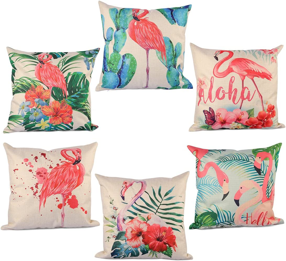 6Pack Throw Pillow Covers, YIFAN 6 Pieces Pillowcase Set Pillow Cover Flamingo Pattern Cushion Cover for Valentine's Day Biirthday Christmas Gift