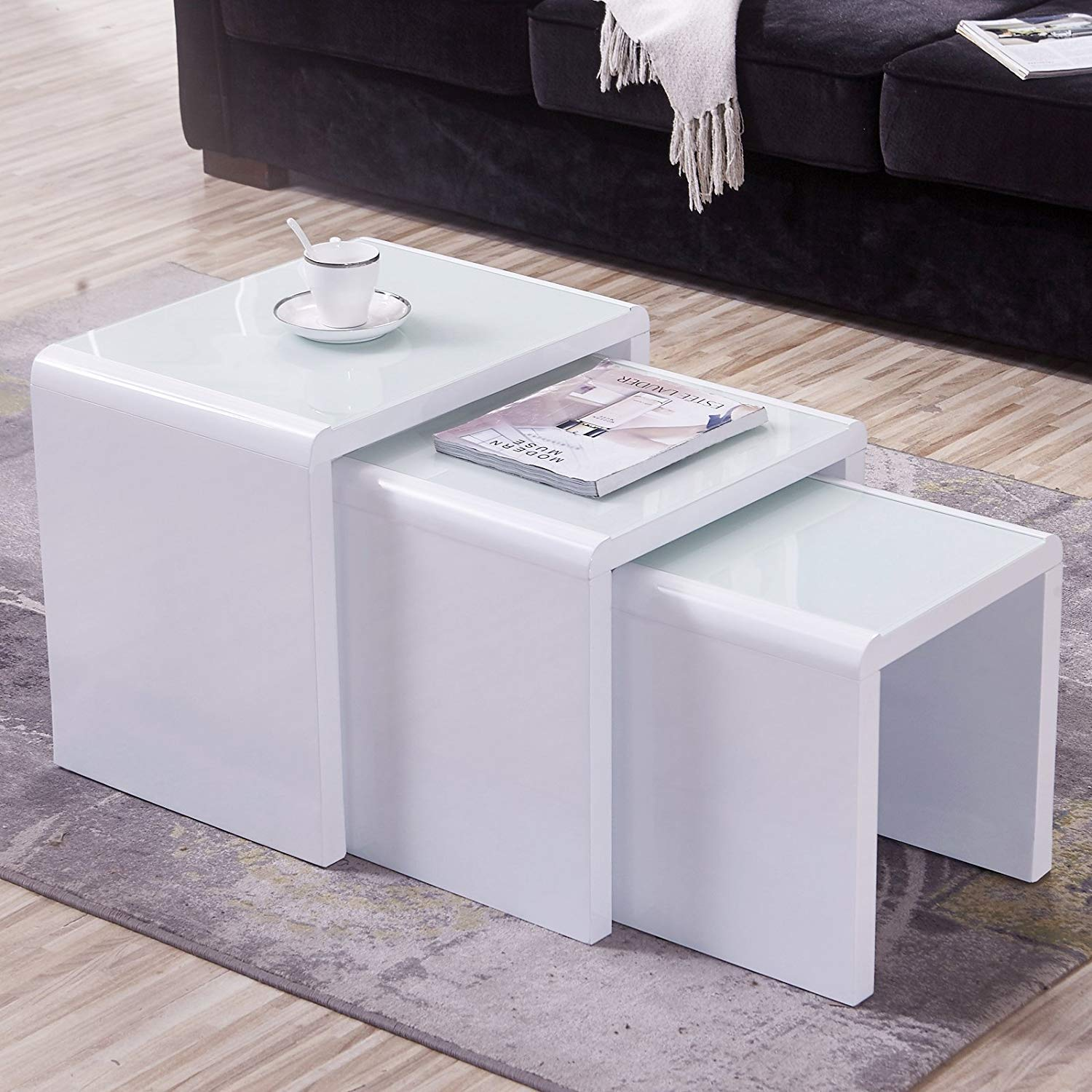 Mecor Nesting Coffee Table Set, 3 Piece Glass Top Coffee Side End Table W/High Gloss White for Living Room (Set of 3, MDF)