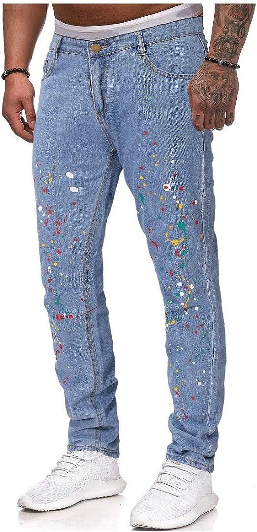 EnergyWD メンズスリムフィットミッドウエストフローラルプリントポルカドットカラフルポケットジーンズパンツ