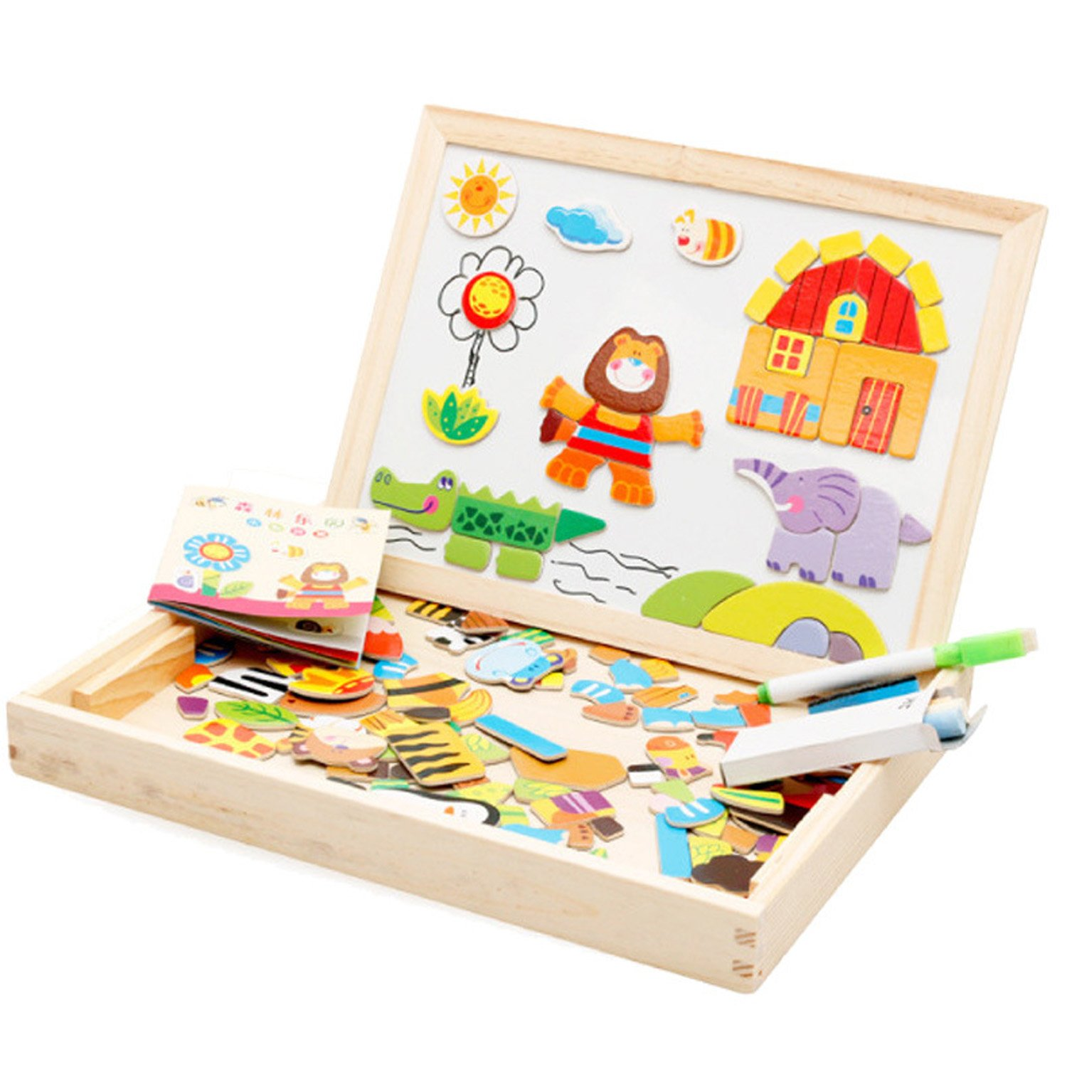 Wooden Educational Toys Magnetic Art Easel Animals Puzzle Games for Kids