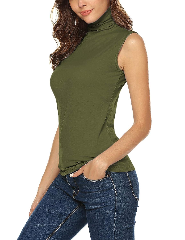5df2f27fecd1ba Amazon.com  URRU Women s Sleeveless Slim Fit Turtleneck Mock Soft T-Shirt Tank  Tops Basic Stretchy Pullover S-XXL  Clothing
