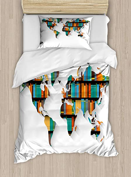 Amazon.com: Lunarable World Duvet Cover Set, World Library ...
