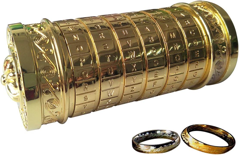 ANBIWANGLUO Código Da Vinci Mini Cryptex Regalo de Cumpleaños del Día de San Valentín para Girlfriend Boyfriend (Golden)