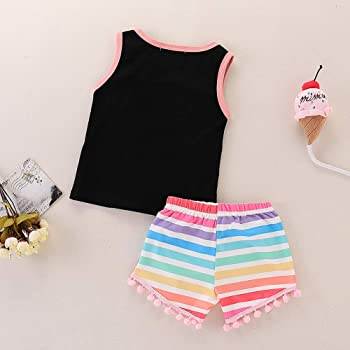 Younger star Toddler Girl Summer Clothes Vest Tops Tassels Shorts 3pcs Baby Girl Outfit Suit