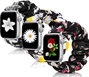 MEULOT Scrunchie Watch Bands for Women Compatible with Apple Watch Bands Series 4 3 6 5 2 1 SE, Soft Elastic Replacement Wristband for iWatch Bands 38mm 40mm 42mm 44mm (Daisy-Rose-B Flower-42-44 M)