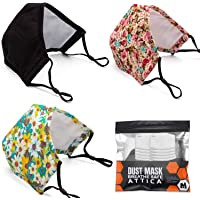 ATTICA 3Pack Adult Cotton Dust Face Mask Washable and Reusable With Filter Adjustable Elastic Ear Loop Breathable and…