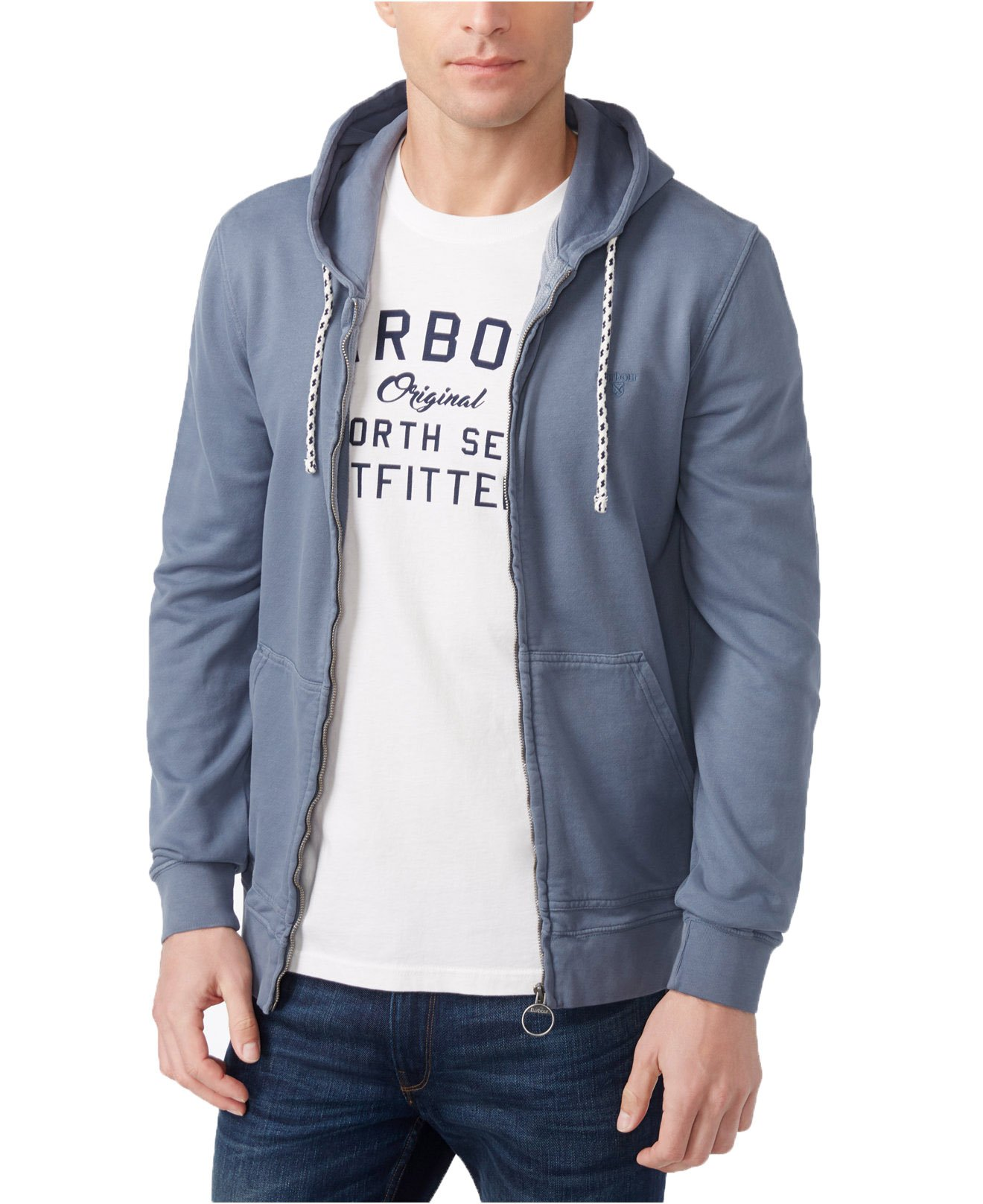 Barbour Men's Bantham Zip Hoodie (Medium, Washed Blue) by Barbour