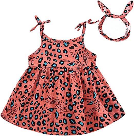Kid Girl Sleeveless Tutu Dress Button Leopard Printed Summer Party Skirt Clothes