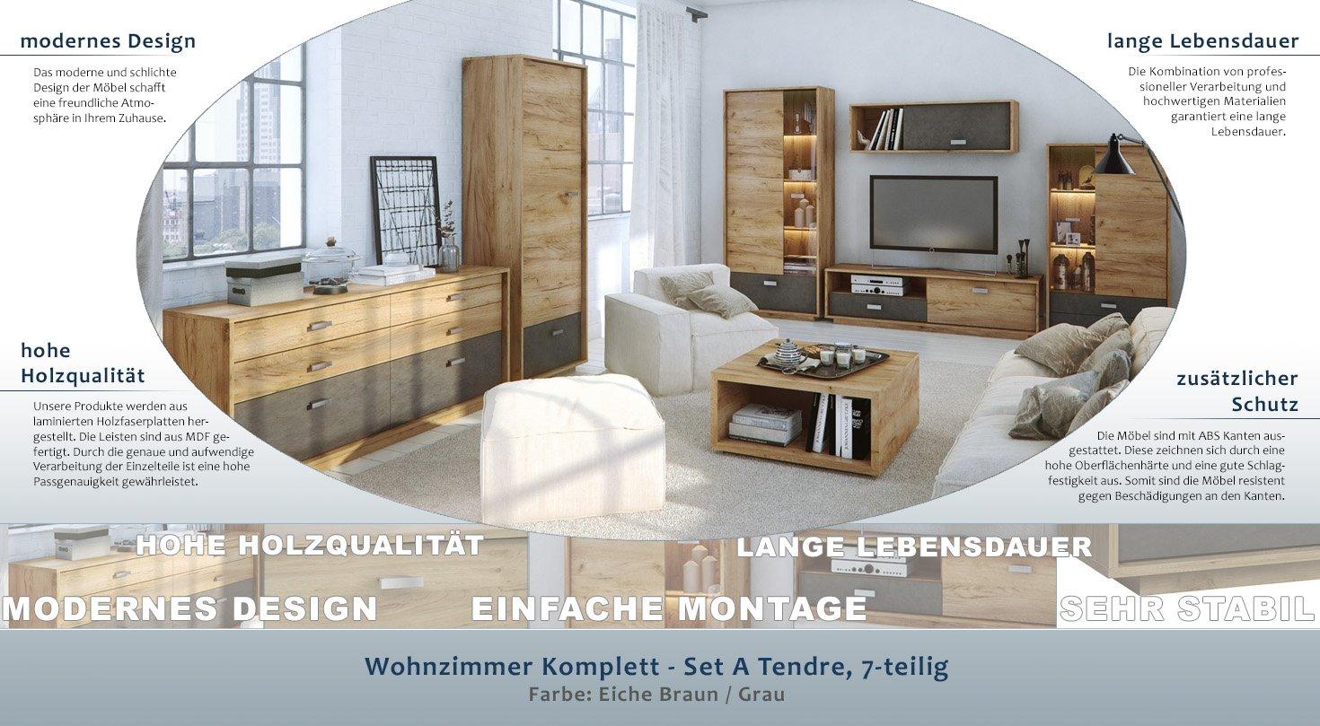 Wohnzimmer Komplett - Set A Tendre, 7-teilig, Farbe: Eiche Braun ...
