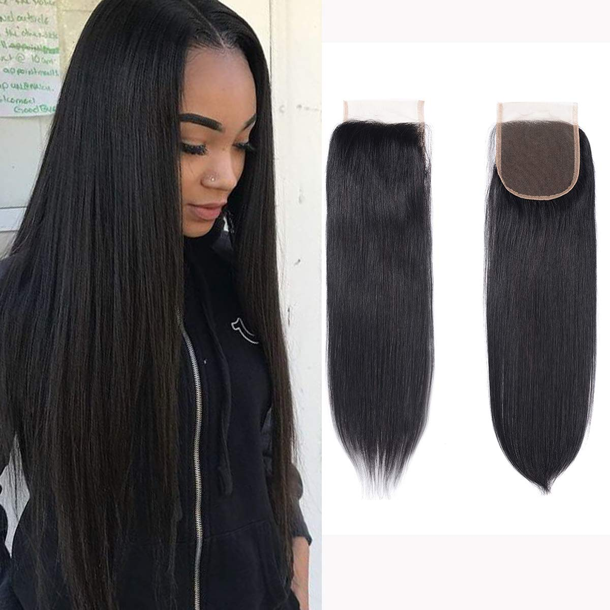 Brazilian Virgin Human Hair Lace Closure Straight 4x4 Free Part Silk Straight Human Hair Top Lace Closure 8A Grade 16 Inch Natural Black Color