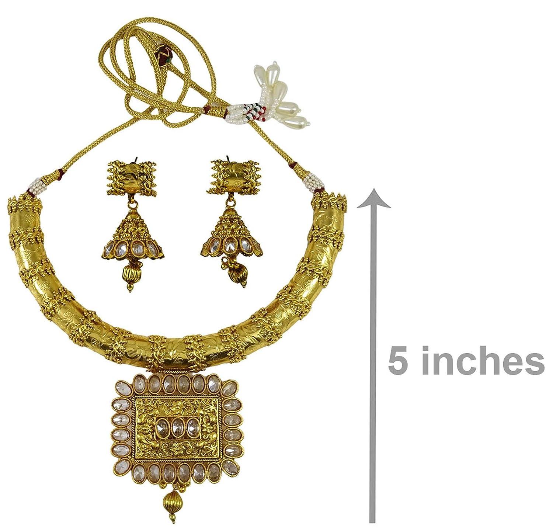 Amazon Matra Goldtone Kundan Polki 2 Pcs Necklace Earrings Set