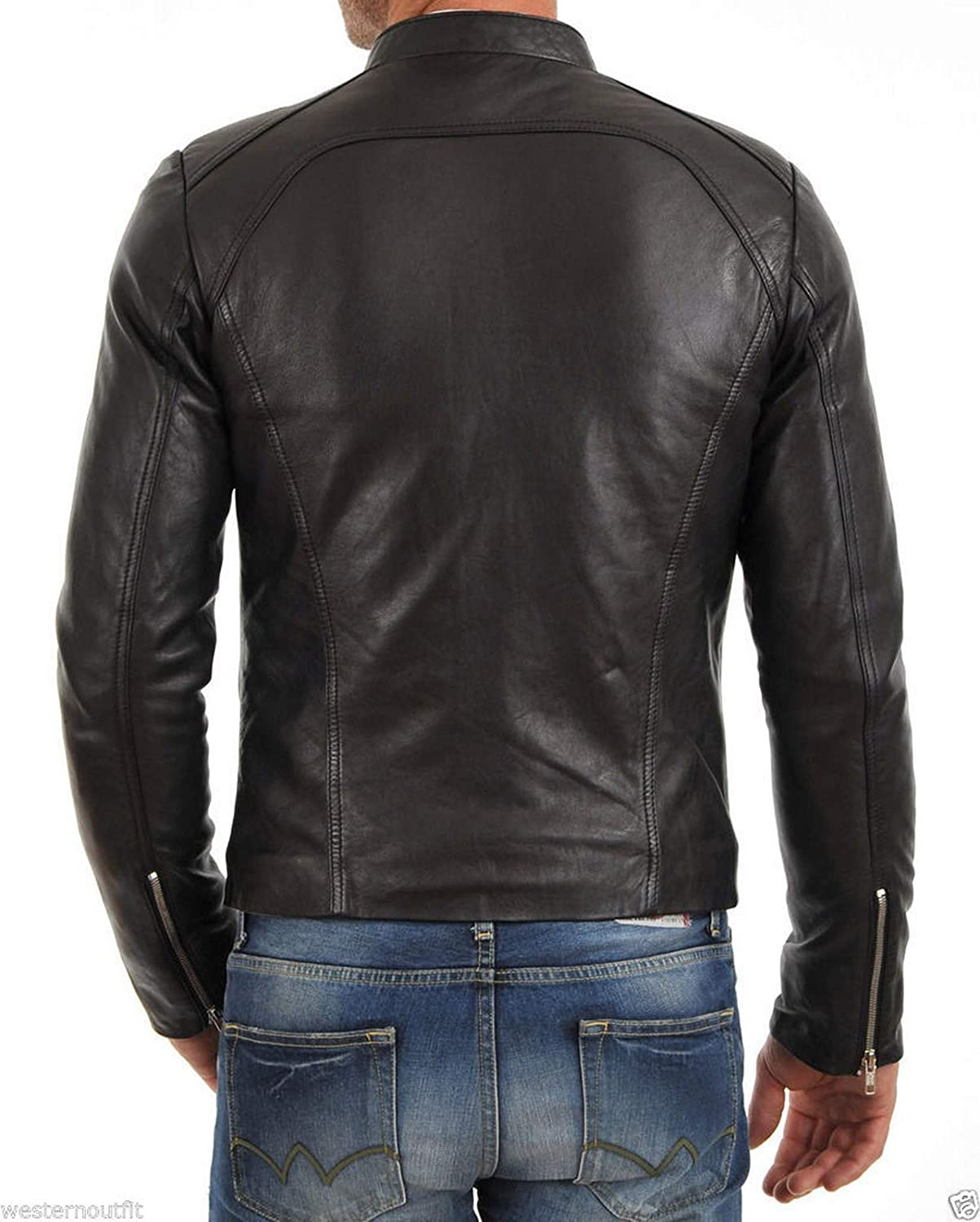 Woojo Mens Leather Biker Jacket WJ058