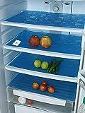 """Kuber Industries Circle Design 6 Piece PVC Refrigerator Drawer Mat Set - 19""""x13"""", Blue"""