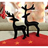 TIED RIBBONS Decorative Reindeer Statue Figurines Deer Showpiece for Living Room Drawing Room Bedroom Shelf Showcase Table Home Decor and Gift (Black, Pack of 2)
