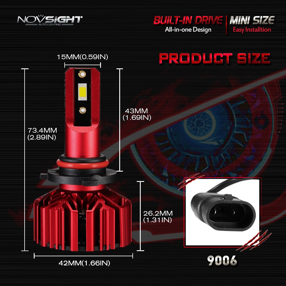NOVSIGHT H11 H8 H9 LED Headlight Bulbs Customized LED Chips with B2 Copper Substrate Brighter 10000LM 6000K Cool White-2 Year Warranty
