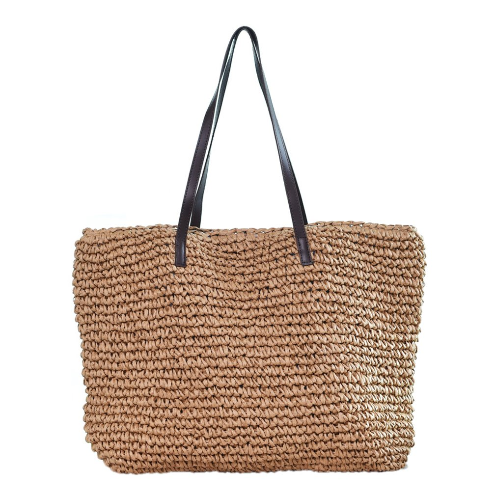 Sornean Large Knitted Straw Bag 100% Handmade Summer Beach Tote Bag Top Zipper Shoulder Bag … (Brown)