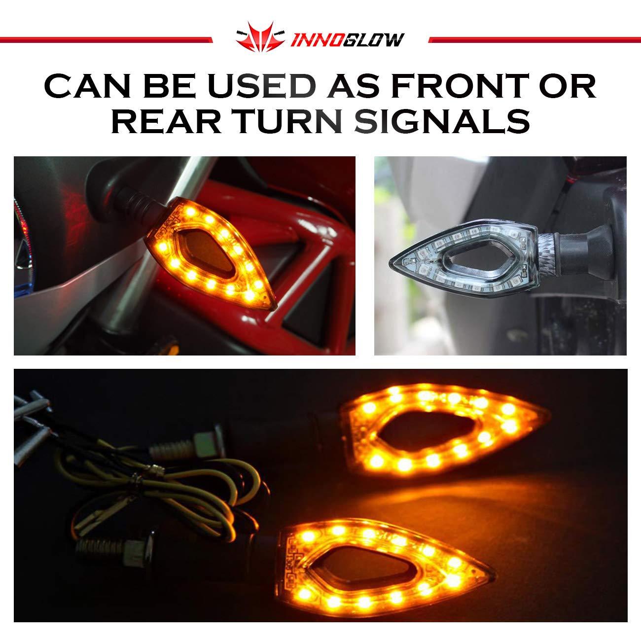 4 PCS INNOGLOW Motorcycle Turn Signal Lights 12V Universal Motorcycle Motorbike Indicator Blinker Amber Light Lamp for Yamaha Honda Suzuki Kawasaki