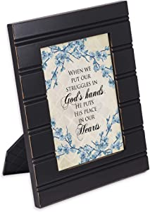 Cottage Garden He Gives Us Peace Black Beaded Board 5 x 7 Table Top and Wall Photo Frame