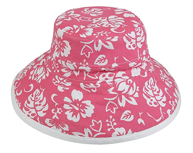 e20104a75b640a Fun Summer Printed Floral Sun Bucket Hat Cotton Ribbon Ties Reversible ( Floral 1516 Hot Pink/White) at Amazon Women's Clothing store: