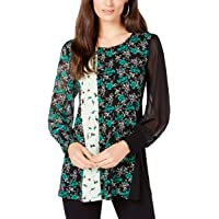 Alfani Womens Mixed Media Smocked Top