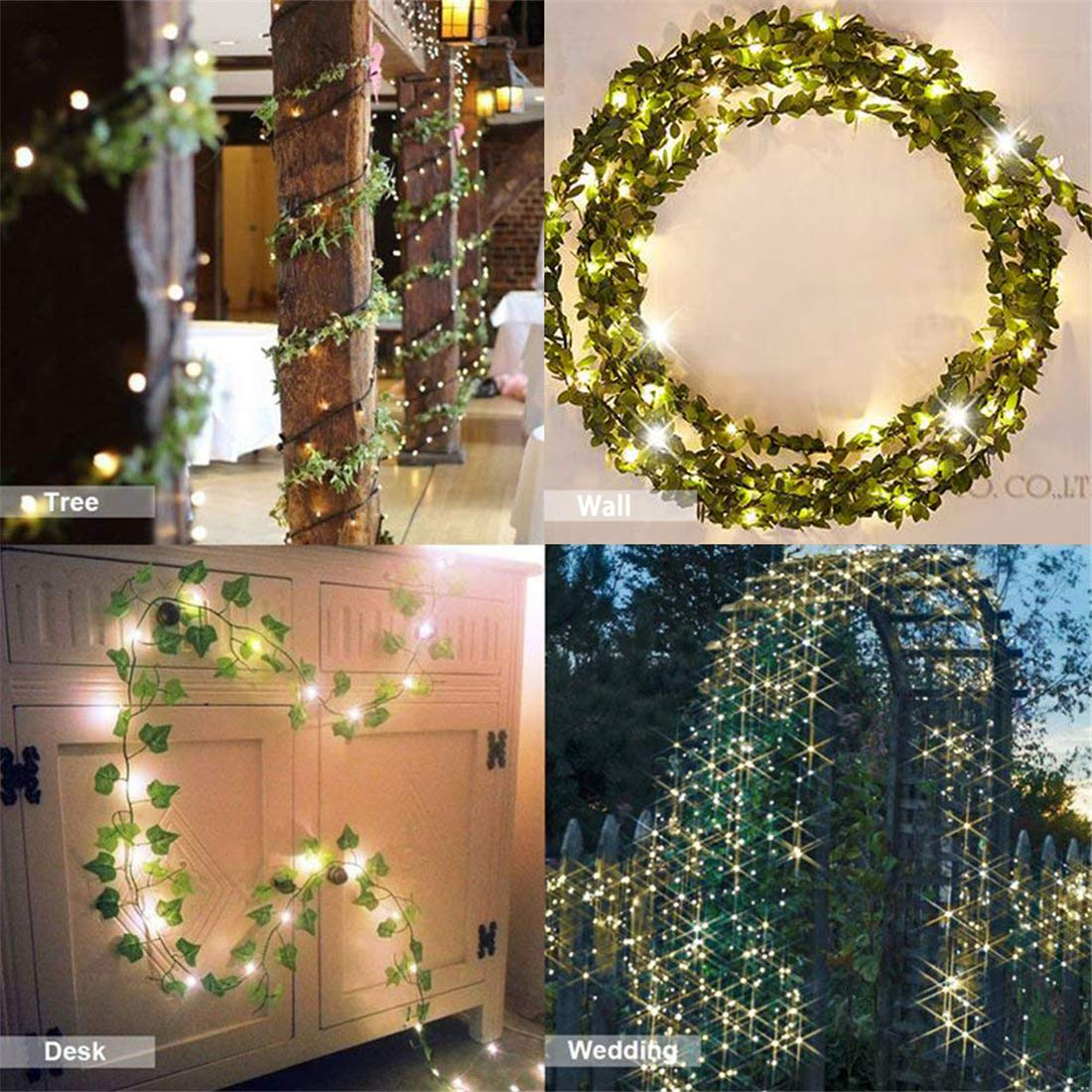 84 FT Artificial Ivy 12 Pack Ivy Vine Garland Ivy Leaves Greenery Garlands Hanging with 100 LED String Light Fake Leaf Plants Faux Green Flowers Decor for Home Kitchen Garden Office Wedding Wall