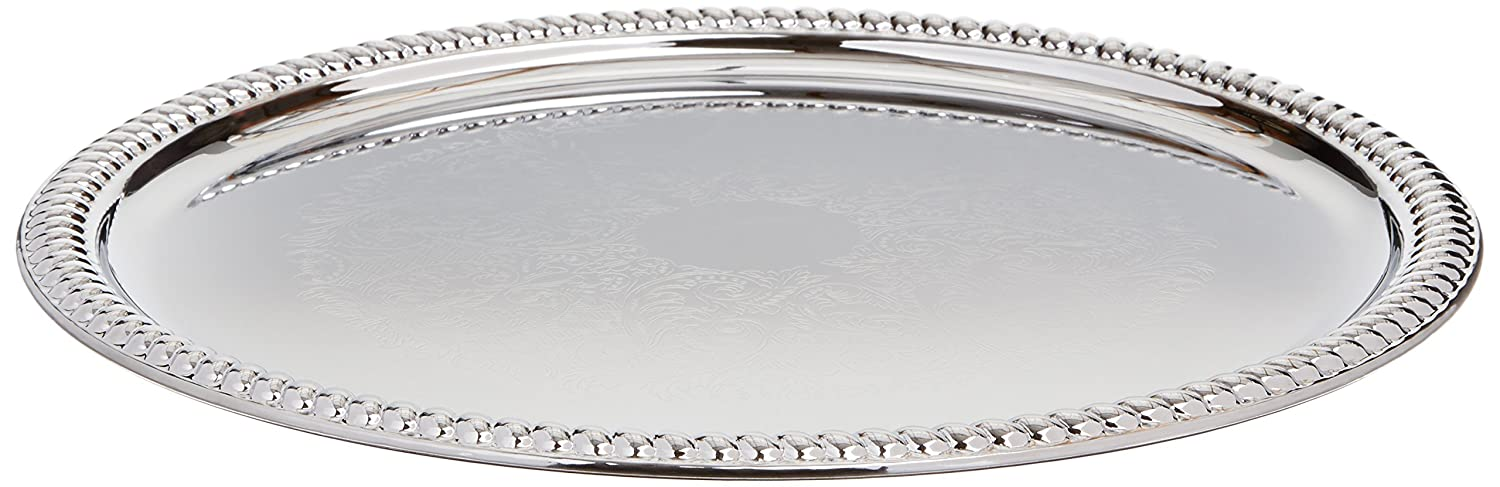 Winco CMT-14 Round Tray, 14-Inch, Chrome Winco USA