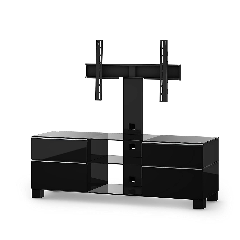 Sonorous MD 8240-C-HBLK-BLK Fernseher-Möbel mit Klarglas (Aluminium Hochglanz/Korpus Hochglanzdekor) schwarz