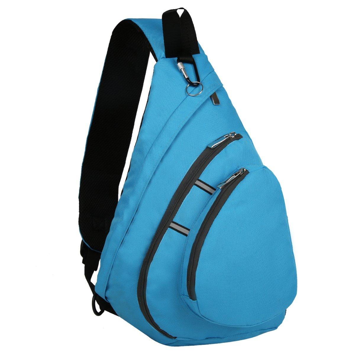 Bekahizar Sling Backpack Bag Crossbody One Shoulder Day Bag Chest Shoulder Pack for Men Women Outdoor Sports Hiking Travel and Day Trips (Blue)