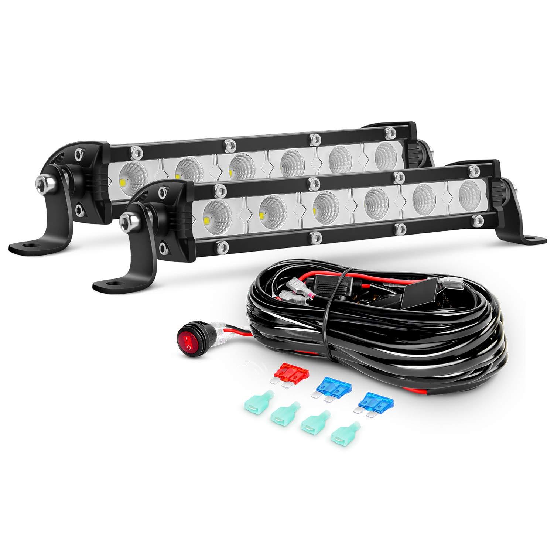 Nilight 2PCS 7Inch 18W Ultra-Slim Single Row Flood LED Light Bar 1530LM Fog Driving Work Light with 16AWG Wiring Harness Kit-2 Lead, 2 Years Warranty by Nilight
