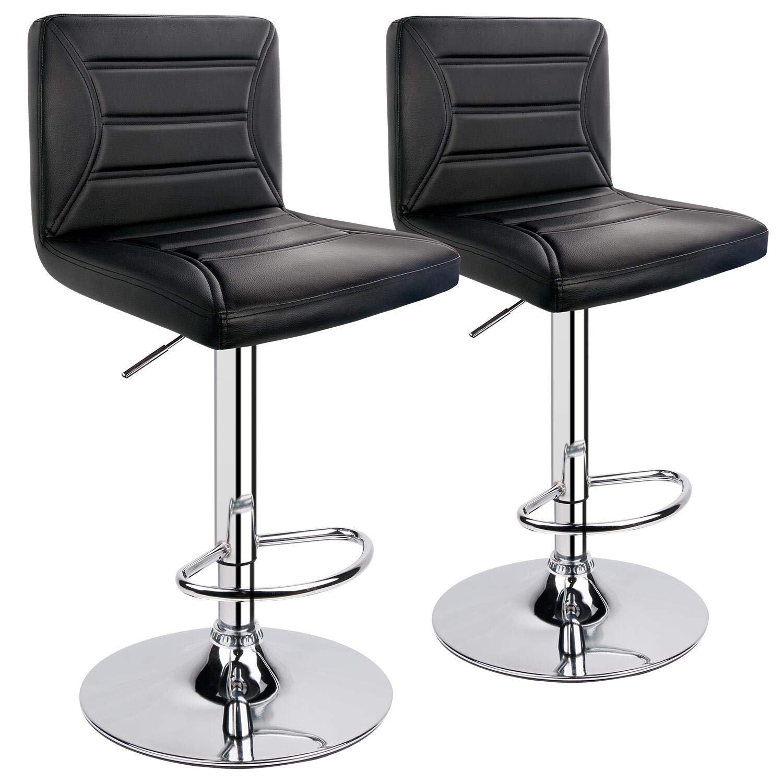 ergoseat Modern PU Leather Adjustable Swivel Barstools, Set of 2 (Black) by ergoseat