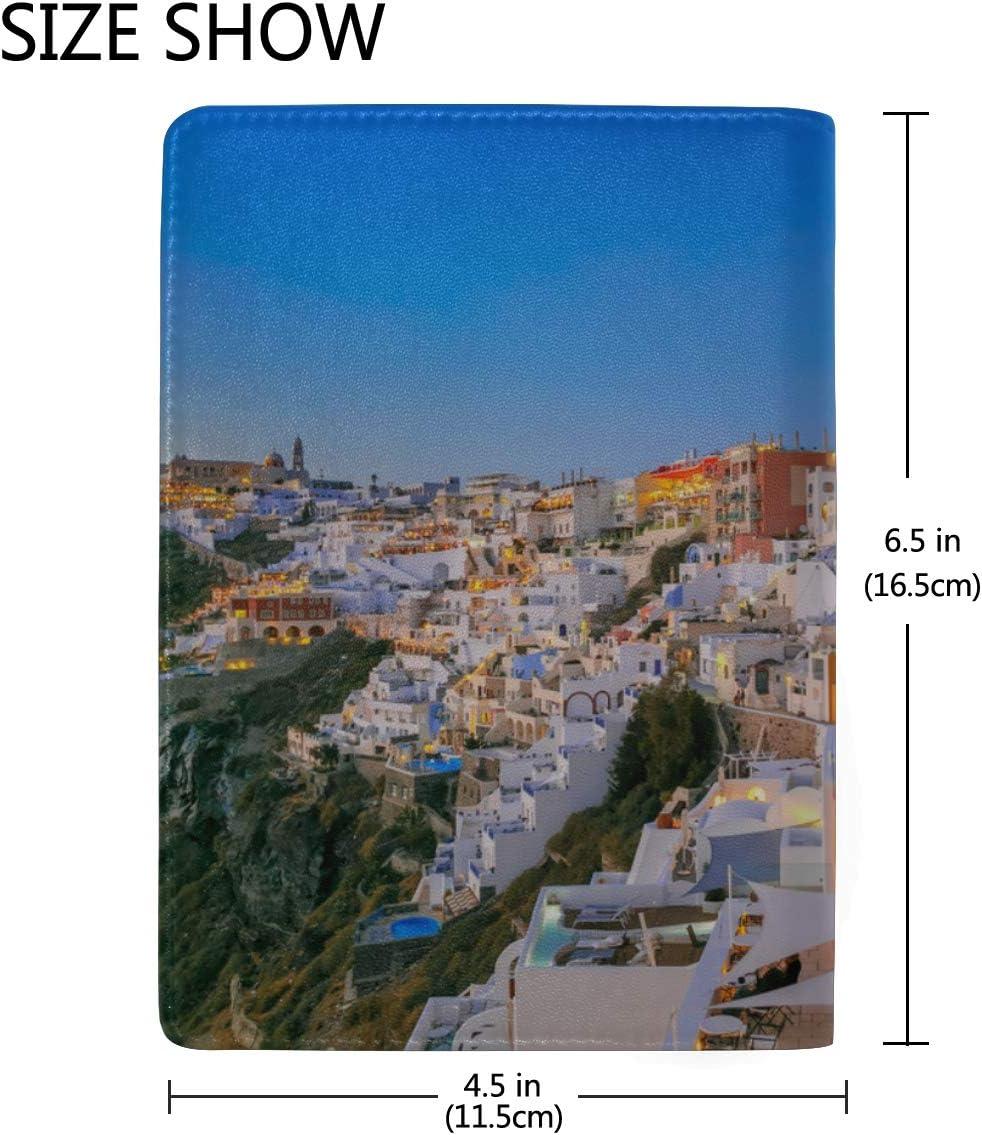 Passport Cover Set Impressive Evening View Of Santorini Stylish Pu Leather Travel Accessories Case Passport Women For Women Men
