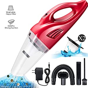 Basuwell Handheld Vacuum Cordless,Portable Vacuum Cleaner 12V 100W Lightweight Rechargeable Lithium Wet Dry Vacuum for Home and Car Cleaning with 2 Washable HEPA Filters …