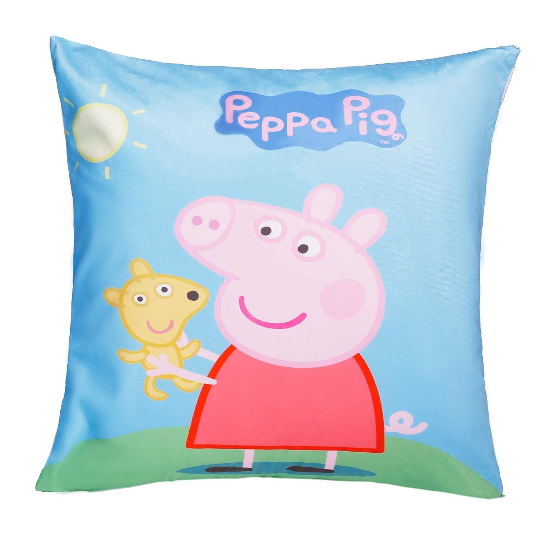 Jerry Fabrics Set of 2 100/% Cotton Velvet Soft Blue Pink Cartoon Peppa Pig Decorative Throw Pillow Cover Home Decor Design Set Cushion Case for Sofa Bedroom Car Hiddern Zipper 18/×18 Inch 45/×45 cm
