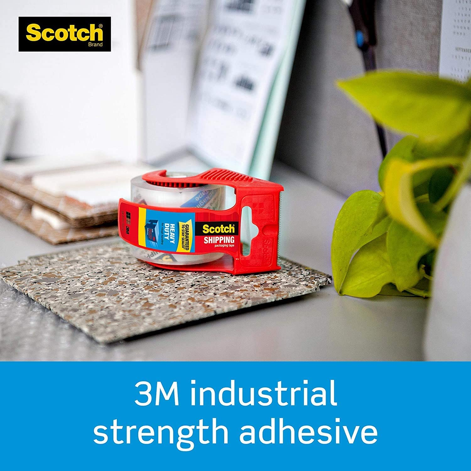 1.5 Core 6 Rolls with Dispenser Clear Shipping /& Moving 1.88 x 22.2 Yards Great for Packing Scotch Heavy Duty Shipping Packaging Tape 1 Pack