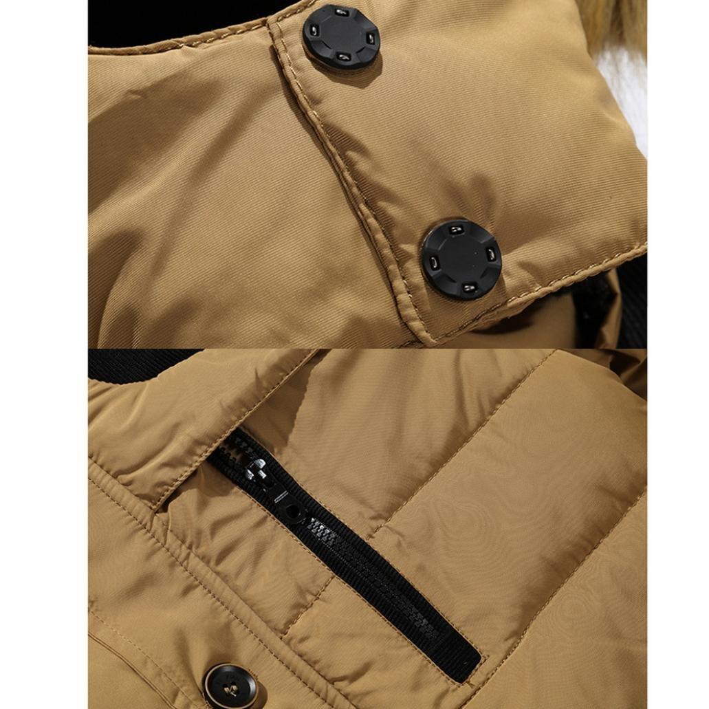 sanfashion Hombre Daunenjacke Plus Fur Slim Casual calientes chaqueta con capucha invierno abrigo gruesos Parka Abrigo con capucha 2XL caqui: Amazon.es: ...