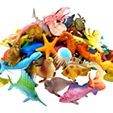 Ocean Sea Animal, 52 Pack Assorted Mini Vinyl Plastic Animal Toy Set, Funcorn Toys Realistic Under The Sea Life Figure…