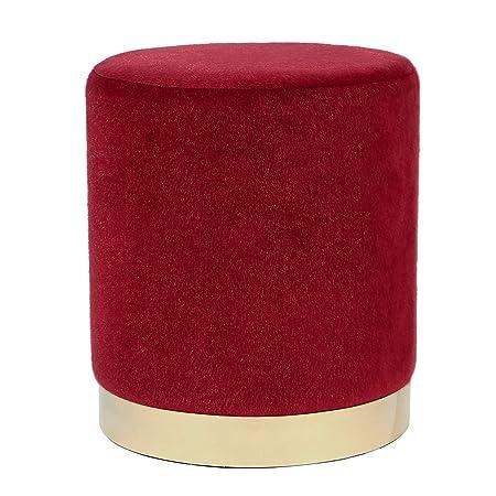 Joveco Velvet Ottoman Short Plush Footstool Round Footrest Stool Red
