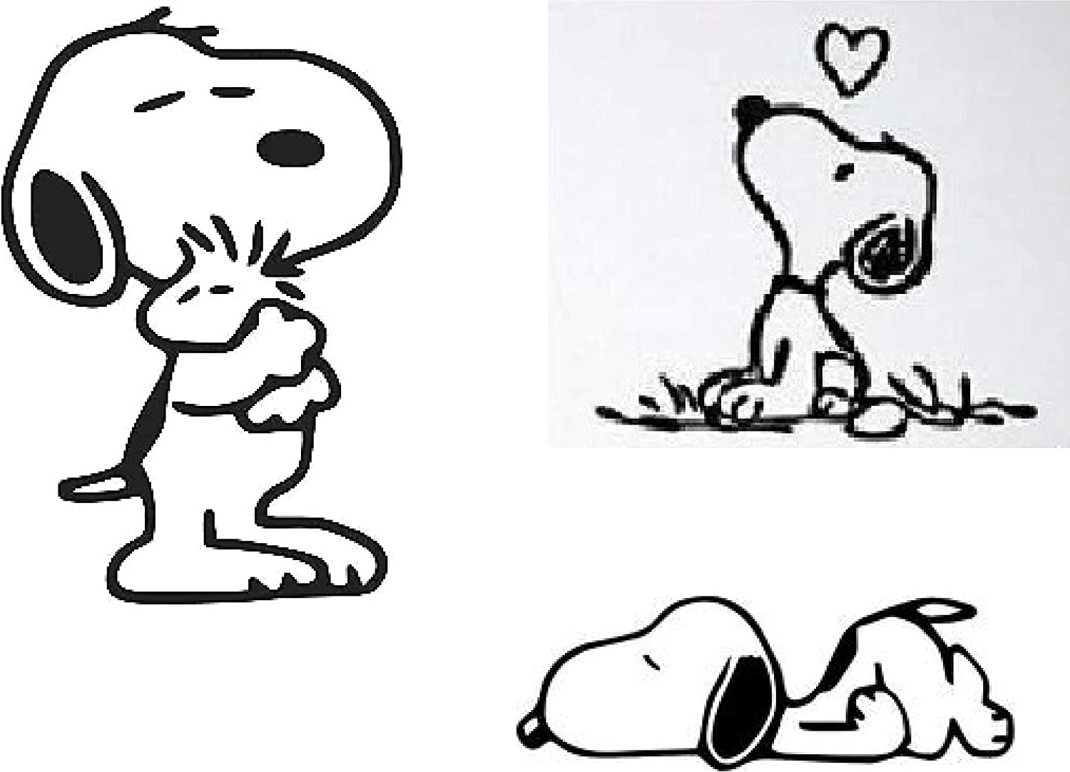 MAF -4 Set-Snoopy Sleep Love Peanuts and Woodstock Decals Vinyl Decal Sticker for Cars LAPTOPS Walls Windows Toolbox Gift-Black