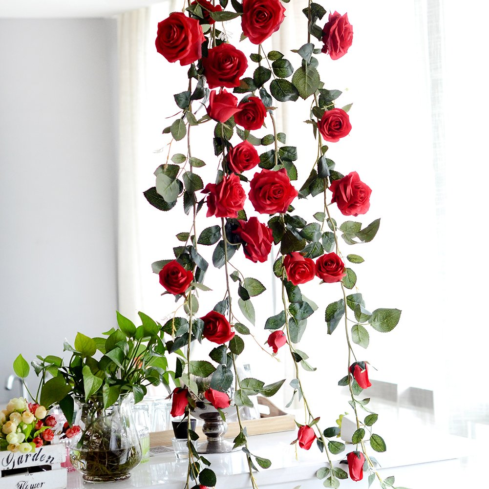 Artificial Silk Rose Flower Ivy Vine Fake Hanging Plant Leaves Garland for Wedding Party Garden Wall Valentine Decor, 6ft Lembeauty