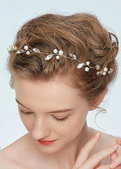 Amazon Com Kercisbeauty Handmade Crystal And Pearl Headband Vine