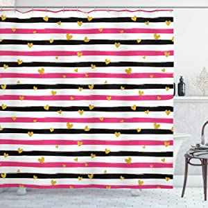 """Ambesonne Valentines Day Shower Curtain, Romantic Teenager Love Sign Hearts on Grunge Stripes Lines, Cloth Fabric Bathroom Decor Set with Hooks, 75"""" Long, Pink White"""