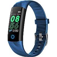 BINDEN Smartband S5 Presión Arterial, Ritmo Cardíaco, IP68, Podómetro, Oxigeno en Sangre, Notificaciones, Multi-Sport, Tiempo de Actividad - Azul