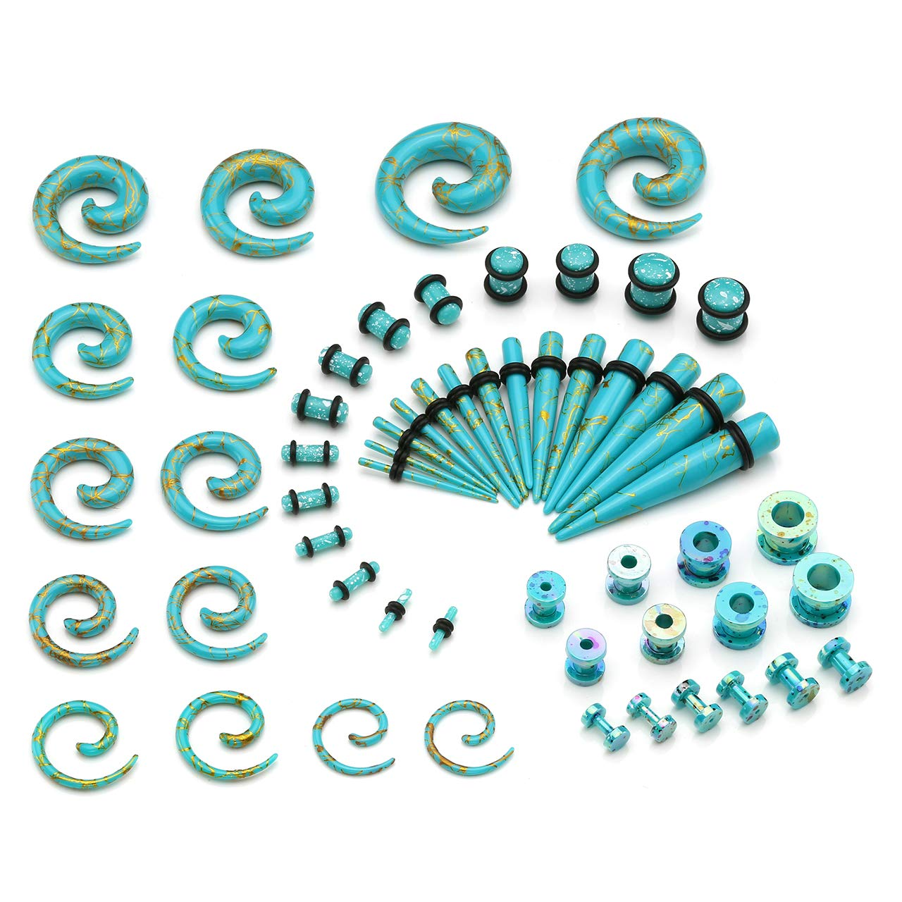 Jovivi 56pcs Turquoise Acrylic Ear Stretching Kit 8G-1/2 - Tapers and Plugs + Spiral Snail Plugs + Flesh Tunnels - Ear Gauges Expander Set Body Piercing Jewelry by Jovivi